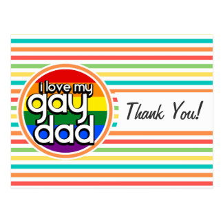 Rayas brillantes del arco iris, papá gay tarjetas postales