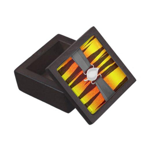 rayas calientes del tigre del fuego cajas de joyas de calidad