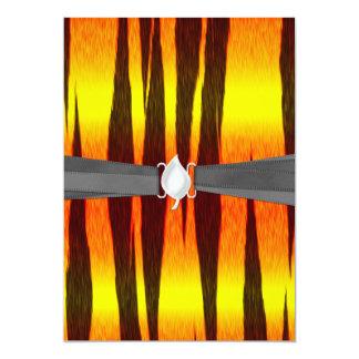 rayas calientes del tigre del fuego invitación 12,7 x 17,8 cm