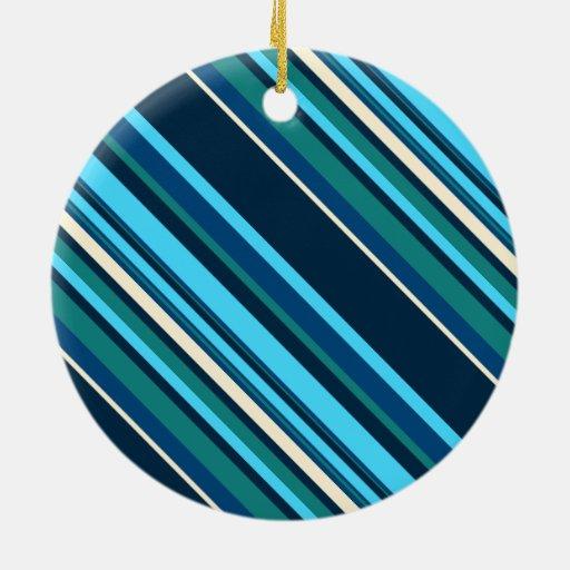 Rayas ciánicas azules de la aguamarina de Diagnal Adorno Navideño Redondo De Cerámica