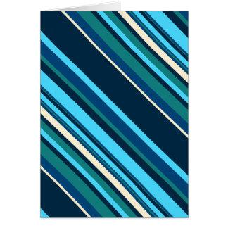 Rayas ciánicas azules de la aguamarina de Diagnal Tarjeta De Felicitación