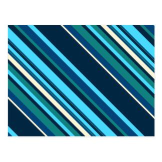Rayas ciánicas azules de la aguamarina de Diagnal Tarjeta Postal