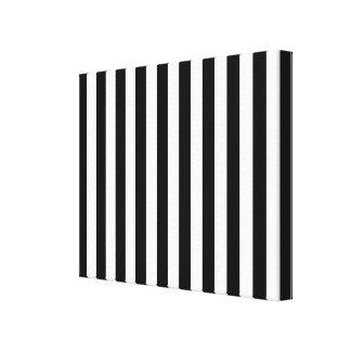 Rayas clásicas negras y blancas verticales impresión en lona estirada