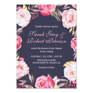 Rayas color de rosa rosadas e invitación floral