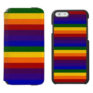Rayas coloreadas arco iris funda billetera para iPhone 6 watson
