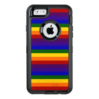 Rayas coloreadas arco iris funda OtterBox defender para iPhone 6