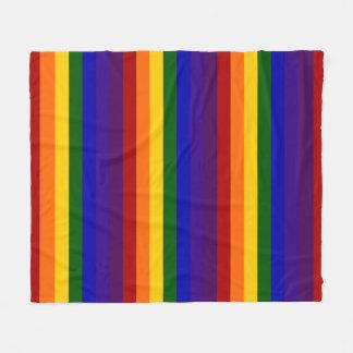 Rayas coloreadas arco iris manta de forro polar