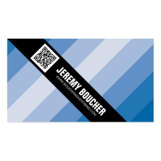 Rayas coloreadas diagonal - azul tarjetas de visita