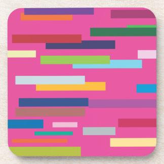 Rayas coloreadas fijadas de 6 prácticos de costa posavasos de bebidas