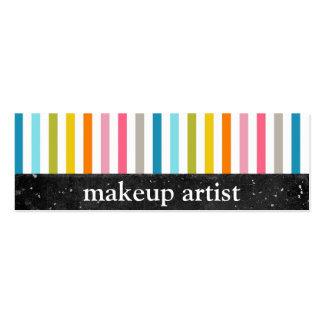 Rayas coloridas - artista de maquillaje - tarjetas tarjetas de visita mini