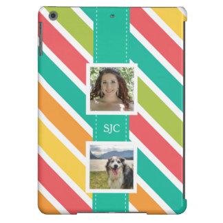 Rayas coloridas brillantes con 2 imágenes de funda para iPad air