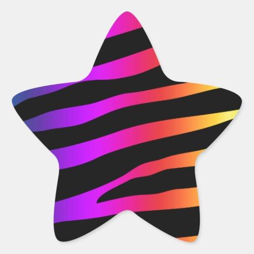 Rayas coloridas brillantes de la cebra etiquetas
