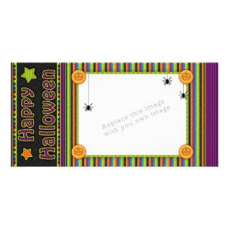 Rayas coloridas - colores y modelo de Halloween Tarjetas Fotográficas Personalizadas