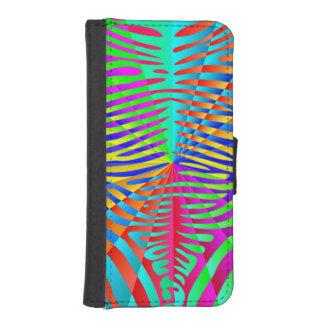 Rayas coloridas del arco iris del modelo de moda funda billetera para teléfono