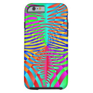 Rayas coloridas del arco iris del modelo de moda funda resistente iPhone 6