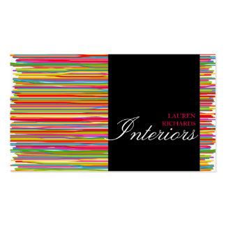 Rayas coloridas del arco iris + diseño interior tarjetas de visita