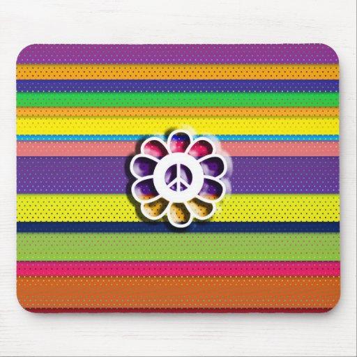 Rayas coloridas del flower power de la paz tapete de raton