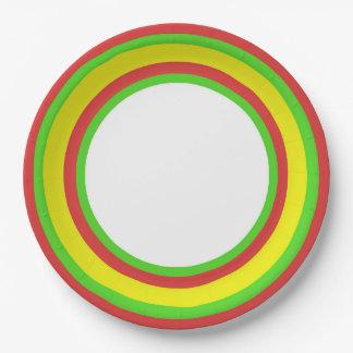 Rayas coloridas en RGY III Platos De Papel
