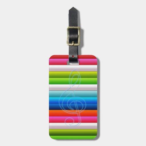 rayas coloridas frescas con una nota de la música etiqueta para maleta