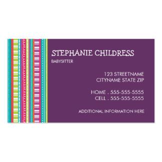 Rayas coloridas que cuid losan nin¢os la tarjeta  tarjeta de visita