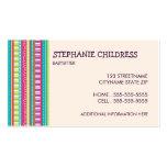 Rayas coloridas que cuid losan nin¢os la tarjeta  tarjetas de visita