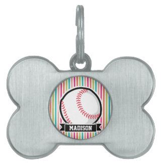 Rayas coloridas; Softball personalizado Placas De Nombre De Mascota