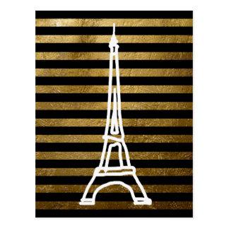 rayas con clase de Eiffel del viaje del la Tarjetas Postales
