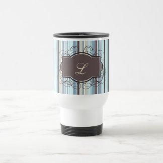 Rayas cones monograma del vintage taza de viaje