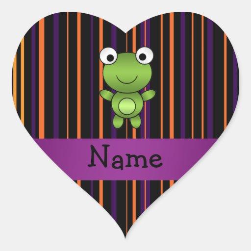 Rayas conocidas personalizadas de Halloween de la  Calcomanía De Corazón Personalizadas