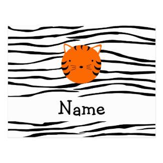 Rayas conocidas personalizadas de la cebra de la c postal