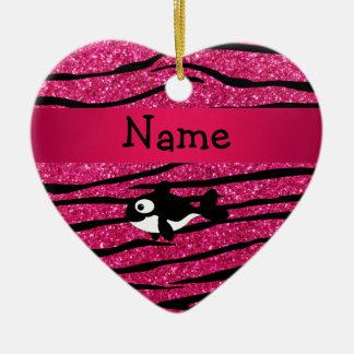 Rayas conocidas personalizadas de la cebra de la adorno de cerámica en forma de corazón