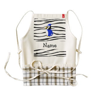 Rayas conocidas personalizadas de la cebra de la delantal zazzle HEART