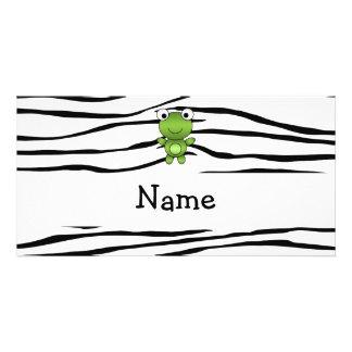 Rayas conocidas personalizadas de la cebra de la r tarjeta con foto personalizada