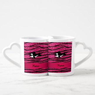 Rayas conocidas personalizadas de la cebra de la taza para enamorados