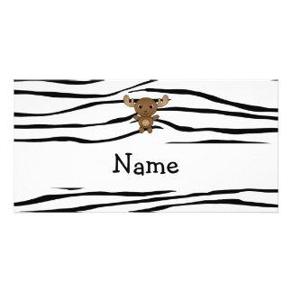 Rayas conocidas personalizadas de la cebra de los  tarjeta fotografica