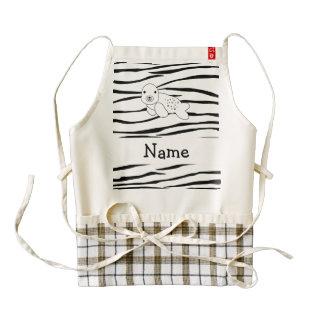 Rayas conocidas personalizadas de la cebra del delantal zazzle HEART