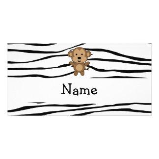 Rayas conocidas personalizadas de la cebra del mon plantilla para tarjeta de foto