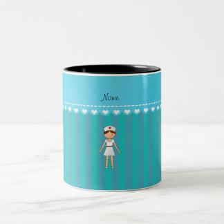 Rayas conocidas personalizadas de la turquesa de taza dos tonos
