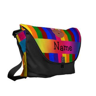Rayas conocidas personalizadas del arco iris de la bolsa messenger