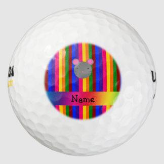 Rayas conocidas personalizadas del arco iris de la pack de pelotas de golf