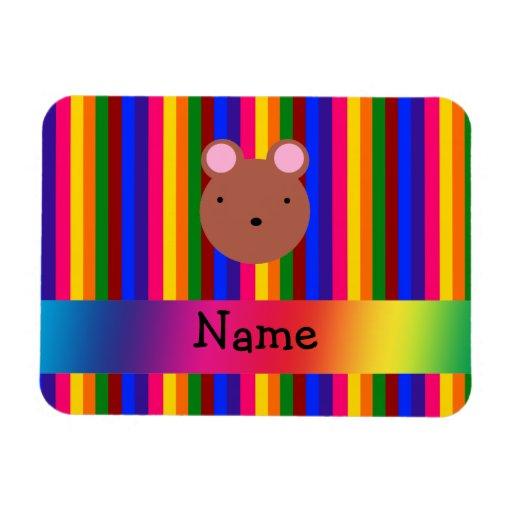 Rayas conocidas personalizadas del arco iris de la rectangle magnet