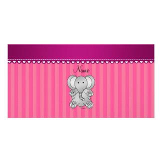 Rayas conocidas personalizadas del elefante tarjeta fotografica personalizada