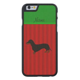 Rayas conocidas personalizadas del rojo del funda de iPhone 6 carved® slim de arce