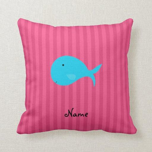 Rayas conocidas personalizadas del rosa de la almohadas