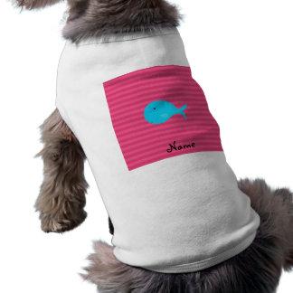 Rayas conocidas personalizadas del rosa de la playera sin mangas para perro