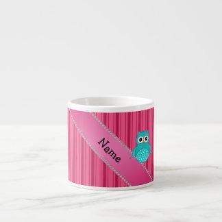 Rayas conocidas personalizadas del rosa del búho taza espresso