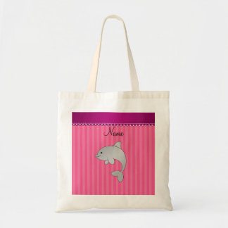 Rayas conocidas personalizadas del rosa del delfín bolsa tela barata