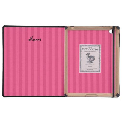 Rayas conocidas personalizadas del rosa del iPad protectores
