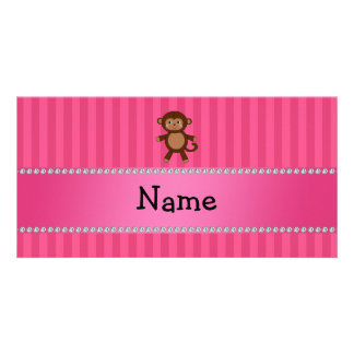 Rayas conocidas personalizadas del rosa del mono d tarjetas personales con fotos
