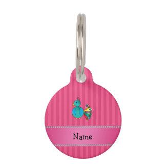 Rayas conocidas personalizadas del rosa del pavo placa de mascota